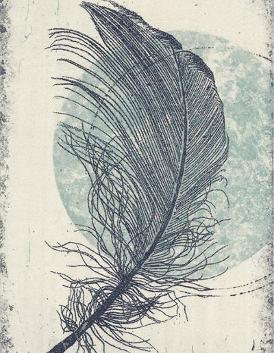 Christine Sloman, Feather - light, H18 x W11 cm, 2 plate etching. Varied edition.