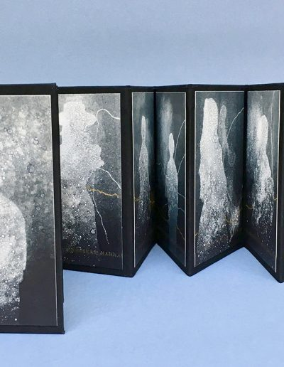 Christine Sloman, Lost Voices (a foreign country), 13 monotypes with gold leaf in a concertina binding plus a drop back box.