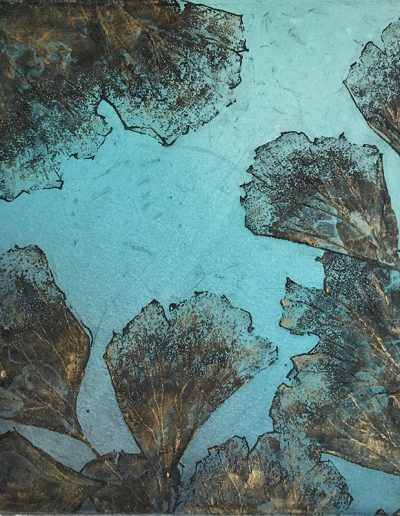 Christine Sloman, Floating Garden - turquoise, H18 x W16 cm, 2 plate etching. Varied edition.