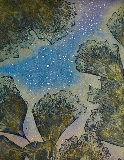Christine Sloman, Floating Garden - blue, H18 x W16 cm, 2 plate etching. Varied edition.