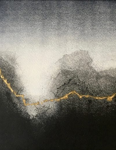 Christine Sloman, At the Water's Edge - H19 x W19 cm. monotype with gold leaf.