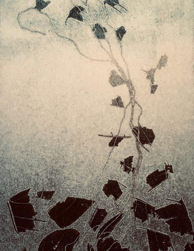 Christine Sloman, Falling III - H23 x W17 cm. monotype.